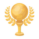 Golden planet with a wreath.The trophy for the best film about the Earth.Movie awards single icon in cartoon style. Vector symbol stock web illustration Stock Photography
