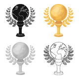 Golden planet with a wreath.The trophy for the best film about the Earth.Movie awards single icon in cartoon style Stock Photo