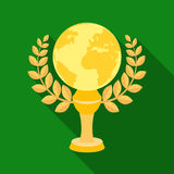 Golden planet with a wreath.The trophy for the best film about the Earth.Movie awards single icon in flat style vector. Symbol stock web illustration Stock Photos