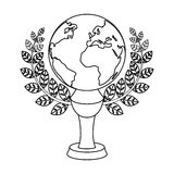 Golden planet with a wreath.The trophy for the best film about the Earth.Movie awards single icon in outline style Stock Image
