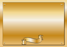 Golden Plaque. Commemorative plaque with screws in gold. Big Space to write Stock Photography
