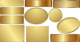 Golden plaques. Set of isolated golden plaques Stock Images