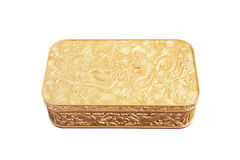 golden plastic box isolated on white background Stock Image