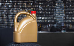 Golden plastic canister Royalty Free Stock Images