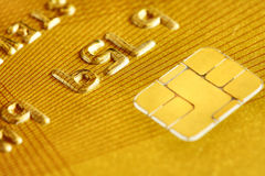 Golden Plastic Credit Card Stock Image