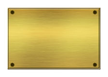 Golden plate. Brushed metal golden plate background Royalty Free Stock Images