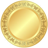 Golden plate with ornament Royalty Free Stock Photos