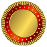 Golden plate with red ring and golden stars. On white background royalty free illustration