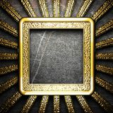 Golden plate on wall Stock Images