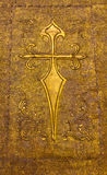 Golden plated church door Stock Photo