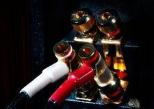 Golden plated connectors of audio equipment Stock Photo
