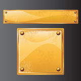 Golden plates. Ancient golden metal plate-vector royalty free illustration