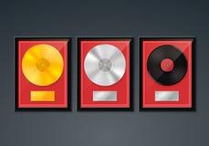 Golden Platinum Hit Collection disc. Vinyl in frame on wall, Golden Platinum Hit Collection disc, template design element, Vector illustration royalty free illustration