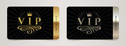 Golden and platinum VIP card template - type design with crown, flourishes element and laurel wreath on a black background. stock illustration