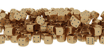 Golden playing dice Stock Photo