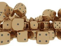 Golden playing dices Stock Photography