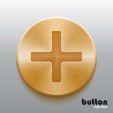 Golden plus button. Round plus button with brushed golden metal texture isolated on gray background Royalty Free Stock Photo