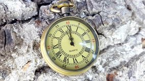 Golden Pocket Clock. This stock footage features a golden pocket clock lying on rough terrain. The clock says the time is 12 o`clock. Use this video in stock footage