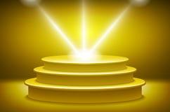 Golden podium in the form of hexagonal floodlighting Stock Photo
