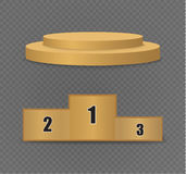 Golden podium on a transparent background.the podium of winners with bright lights.spotlight. Lighting.vector illustration.attention Royalty Free Stock Photography