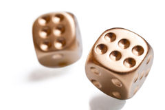 Golden poker dices Royalty Free Stock Images