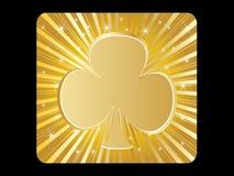 Golden poker element - clover Royalty Free Stock Photos