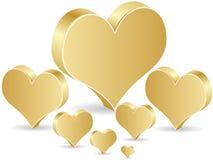 Golden poker element - heart Stock Photography