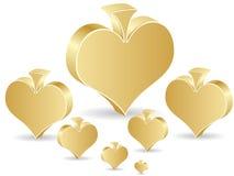Golden poker element - heart Stock Photos