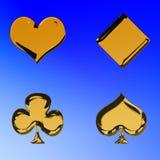 Golden poker symbols. Golden poker or card symbols - heart, diamond, club and spade Royalty Free Stock Image