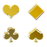 Golden poker symbols Royalty Free Stock Images