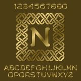Golden polished letters and numbers with initial monogram in decorative square frame. Beautiful presentable font kit for logo design Royalty Free Stock Image