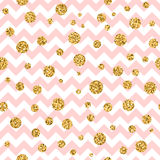 Golden polka dot seamless pattern zig zag pink. Golden polka dot seamless pattern. Gold confetti glitter zigzag. Geometric pink and white zig zag texture Royalty Free Stock Photography