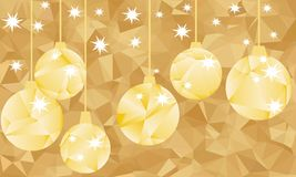 Golden polygonal balls and on golden background. Royalty Free Stock Image