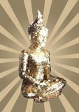 Golden polygonal Buddha. Gold polygonal, triangle, mosaic, pixel and origami style Buddha sitting in lotus position with rays Stock Photo