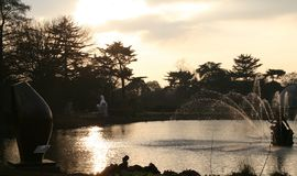 Golden pond. A golden pond at sunset, with fountain Royalty Free Stock Photography