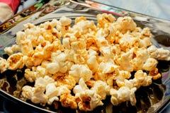 Golden popcorn Stock Photo