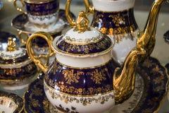 Golden Porcelain vessels Stock Photo