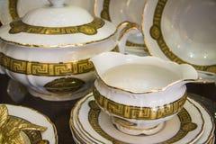 Golden Porcelain vessels Royalty Free Stock Image