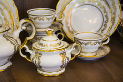 Golden Porcelain vessels Royalty Free Stock Image