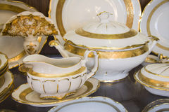 Golden Porcelain vessels Stock Photo