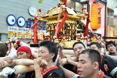Golden portable shrine in Japanese festivals royalty free stock images
