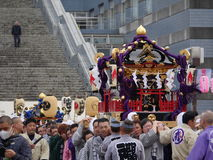 Golden portable shrine or Mikoshi Stock Photo