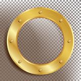 Porthole Vector. Round Golden Window With Rivets. Bathyscaphe Ship Metal Frame Design Element. For Aircraft, Submarines vector illustration