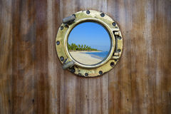 Golden porthole xxl Royalty Free Stock Images