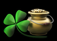 Golden pot full of gold coins. Isolated on black background High resolution 3D stock photo