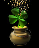 Golden pot full of gold coins Royalty Free Stock Photos
