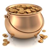 Golden Pot full of Gold Coins. With dollar sign Royalty Free Stock Photos