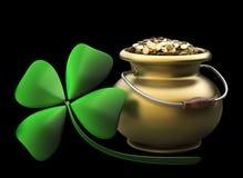 Golden Pot Full Of Gold Coins Stock Photo