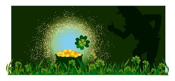 Golden pot and Leprechaun Stock Image
