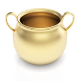 Golden pot on white Stock Image